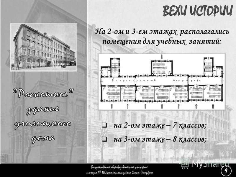 На 2-ом и 3-ем этажах располагались помещения для учебных занятий: (9) «Роскошное здание» - 7 на 2-ом этаже – 7 классов; на 3-ом этаже – 8 классов; 9