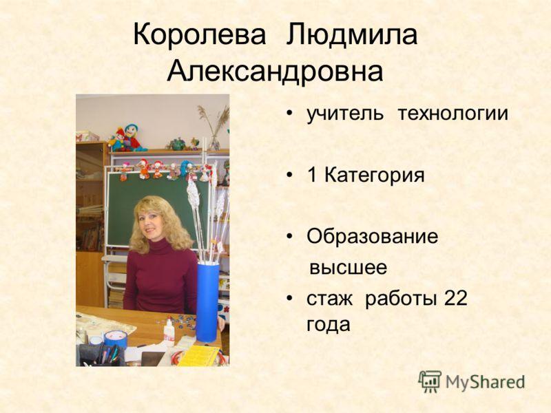 Королева Людмила Александровна учитель технологии 1 Категория Образование высшее стаж работы 22 года