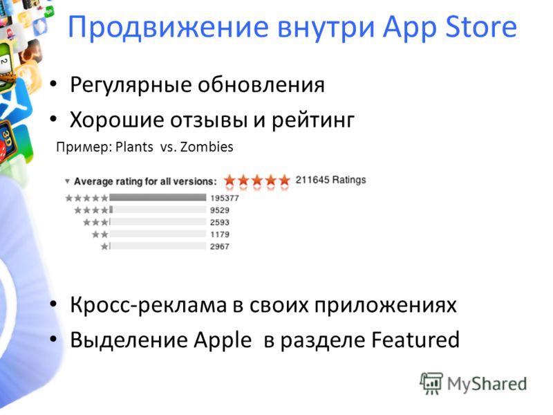 Продвижение внутри App Store Регулярные обновления Хорошие отзывы и рейтинг Пример: Plants vs. Zombies Кросс-реклама в своих приложениях Выделение Apple в разделе Featured