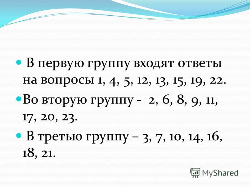 В первую группу входят ответы на вопросы 1, 4, 5, 12, 13, 15, 19, 22. Во вторую группу - 2, 6, 8, 9, 11, 17, 20, 23. В третью группу – 3, 7, 10, 14, 16, 18, 21.