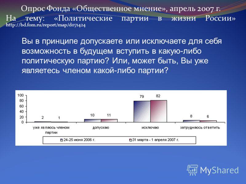 Опрос Фонда «Общественное мнение», апрель 2007 г. На тему: «Политические партии в жизни России» http://bd.fom.ru/report/map/d071424 Вы в принципе допускаете или исключаете для себя возможность в будущем вступить в какую-либо политическую партию? Или,