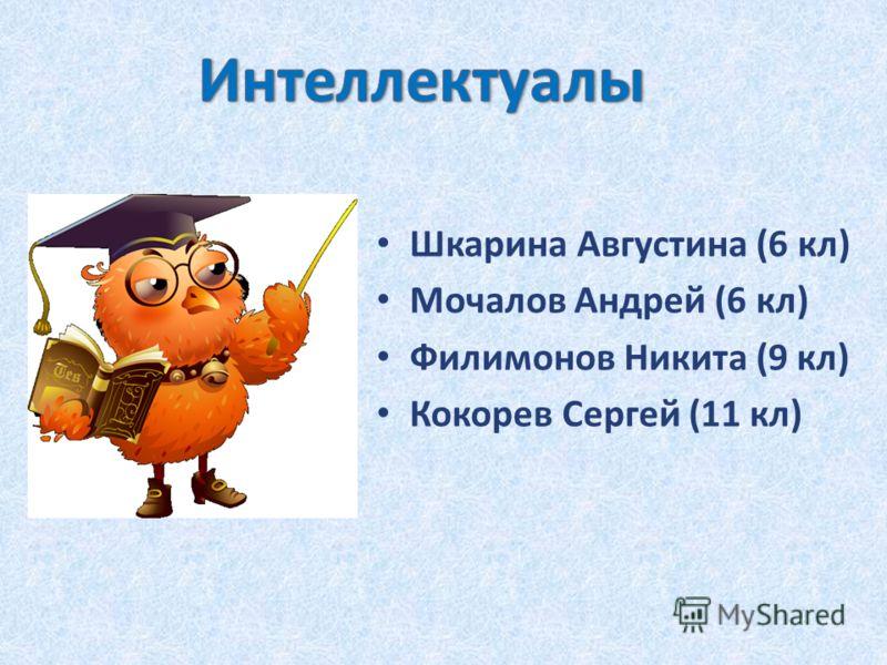 Шкарина Августина (6 кл) Мочалов Андрей (6 кл) Филимонов Никита (9 кл) Кокорев Сергей (11 кл)
