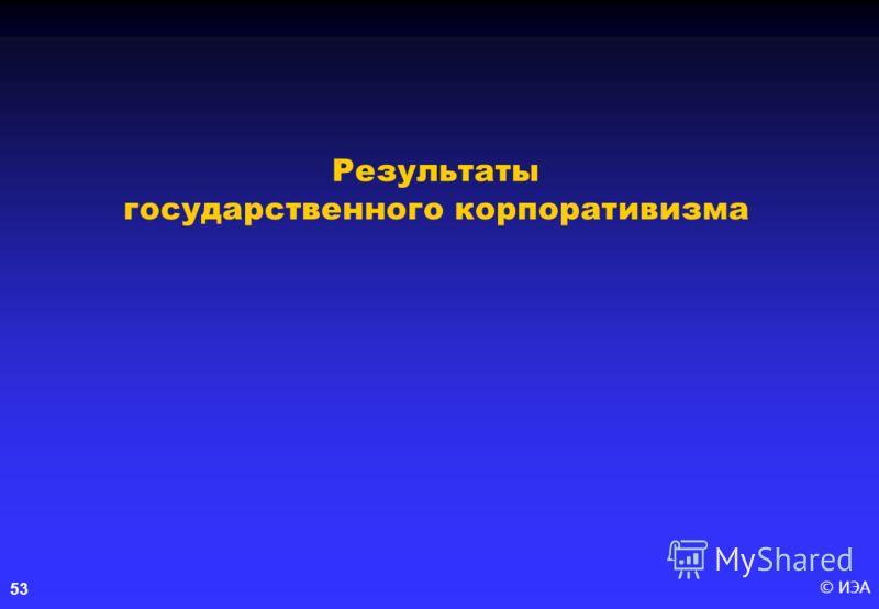 © ИЭА 53 Результаты государственного корпоративизма