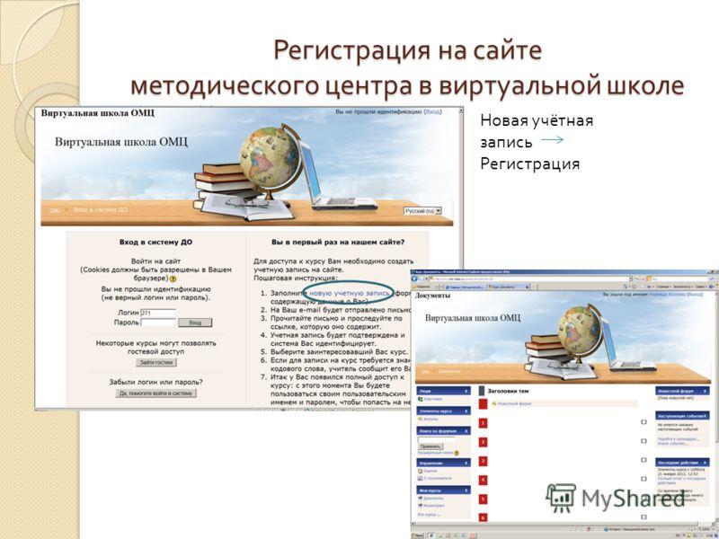 Регистрация на сайте методического центра в виртуальной школе Новая учётная запись Регистрация