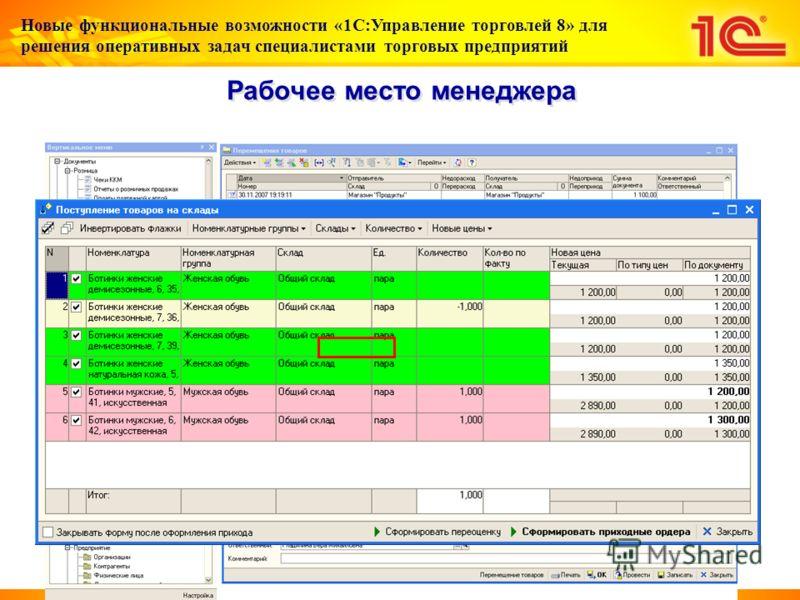 Новые функциональные возможности «1С:Управление торговлей 8» для решения оперативных задач специалистами торговых предприятий Рабочее место менеджера