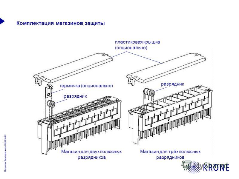 Московское Представительство KRONE GmbH Комплектация магазинов защиты Магазин для двухполюсных разрядников Магазин для трёхполюсных разрядников термичка (опционально) разрядник пластиковая крышка (опционально)