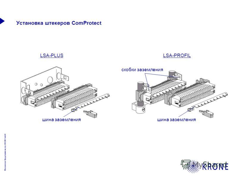 Московское Представительство KRONE GmbH Установка штекеров ComProtect LSA-PROFILLSA-PLUS скобки заземления шина заземления