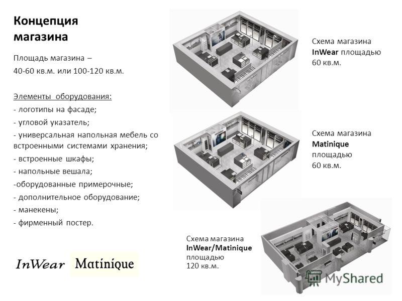Концепция магазина Площадь магазина – 40-60 кв.м. или 100-120 кв.м. Элементы оборудования: - логотипы на фасаде; - угловой указатель; - универсальная напольная мебель со встроенными системами хранения; - встроенные шкафы; - напольные вешала; -оборудо