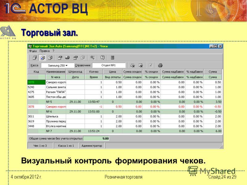 10 августа 2012 г.Розничная торговляСлайд 24 из 29 Визуальный контроль формирования чеков. Торговый зал.