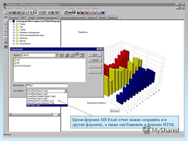 Кроме формата MS Excel отчет можно сохранить и в других форматах, а также опубликовать в формате HTML