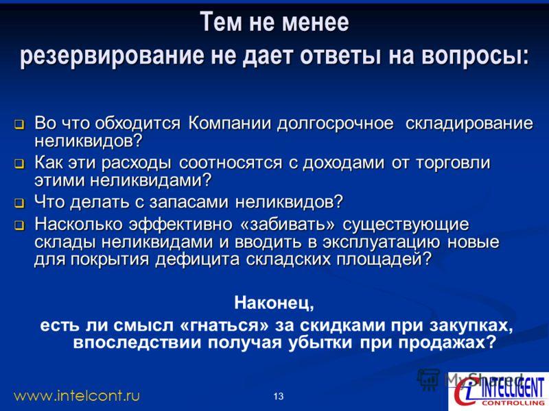 13 www.intelcont.ru Тем не менее резервирование не дает ответы на вопросы: Во что обходится Компании долгосрочное складирование неликвидов? Во что обходится Компании долгосрочное складирование неликвидов? Как эти расходы соотносятся с доходами от тор