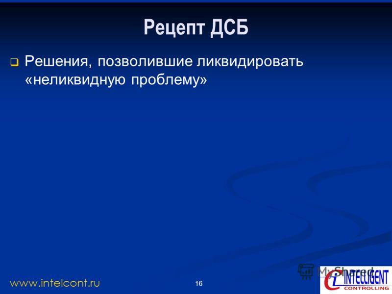 16 www.intelcont.ru Рецепт ДСБ Решения, позволившие ликвидировать «неликвидную проблему»