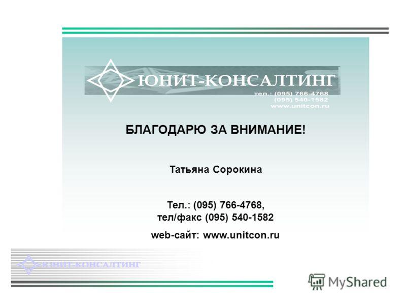 БЛАГОДАРЮ ЗА ВНИМАНИЕ! Татьяна Сорокина Тел.: (095) 766-4768, тел/факс (095) 540-1582 web-сайт: www.unitcon.ru