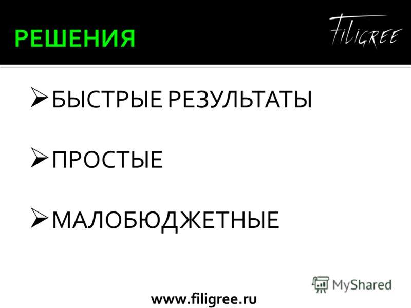www.filigree.ru БЫСТРЫЕ РЕЗУЛЬТАТЫ ПРОСТЫЕ МАЛОБЮДЖЕТНЫЕ