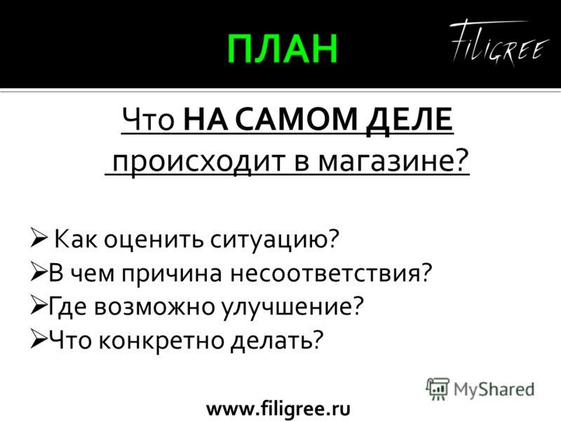 www.filigree.ru Что НА САМОМ ДЕЛЕ происходит в магазине? Как оценить ситуацию? В чем причина несоответствия? Где возможно улучшение? Что конкретно делать?