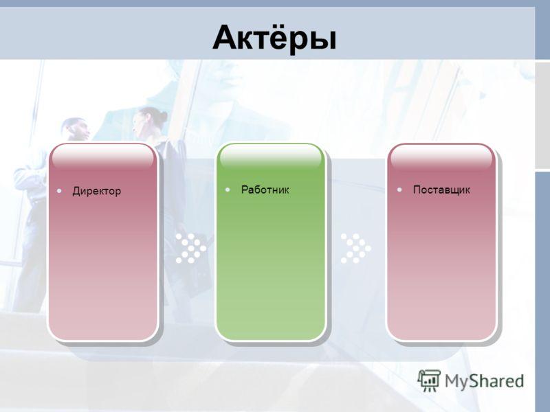 Актёры Директор Работник Поставщик
