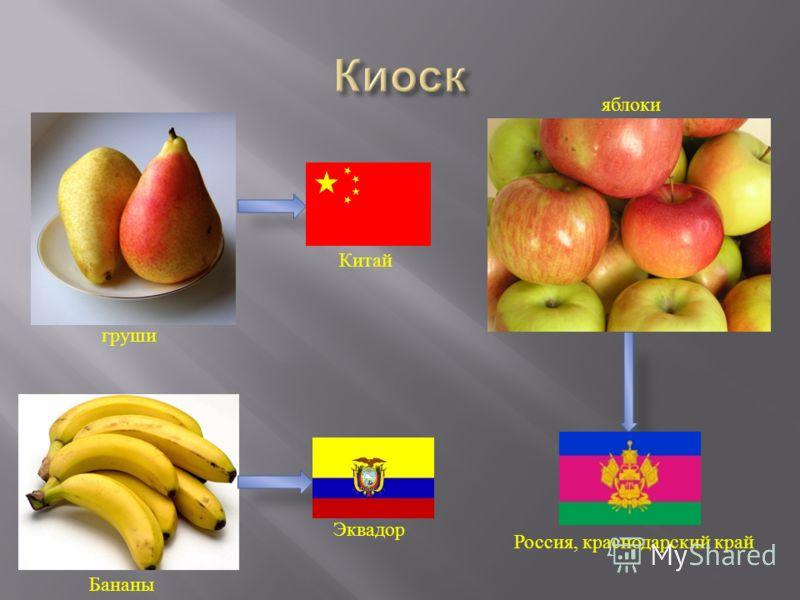 Россия, краснодарский край яблоки Китай груши Эквадор Бананы