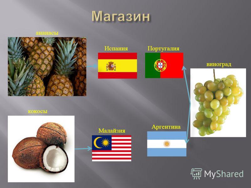 ананасы кокосы Испания Малайзия Аргентина Португалия виноград