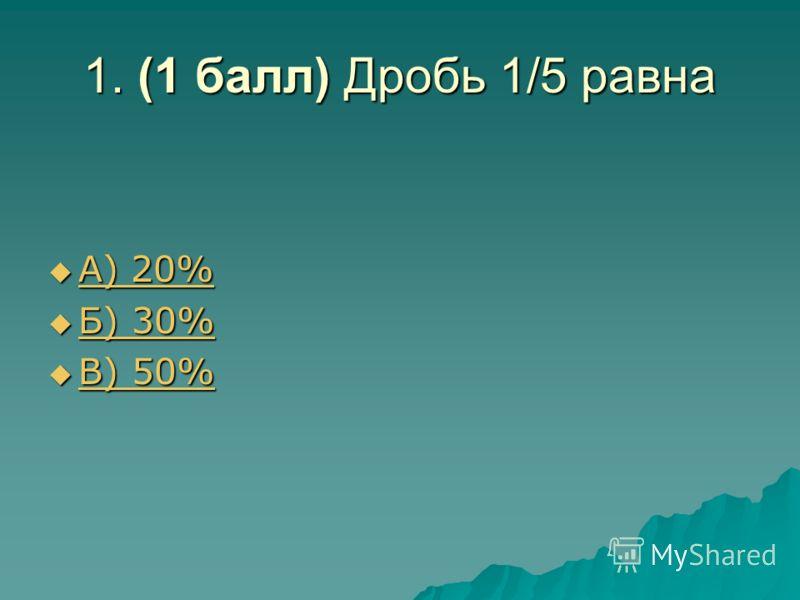 1. (1 балл) Дробь 1/5 равна А) 20% А) 20% А) 20% А) 20% Б) 30% Б) 30% Б) 30% Б) 30% В) 50% В) 50% В) 50% В) 50%