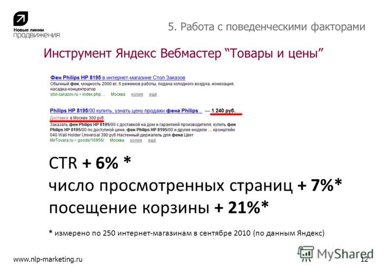 Инструмент Яндекс Вебмастер Товары и цены www.nlp-marketing.ru12 5. Работа с поведенческими факторами CTR + 6% * число просмотренных страниц + 7%* посещение корзины + 21%* * измерено по 250 интернет-магазинам в сентябре 2010 (по данным Яндекс)