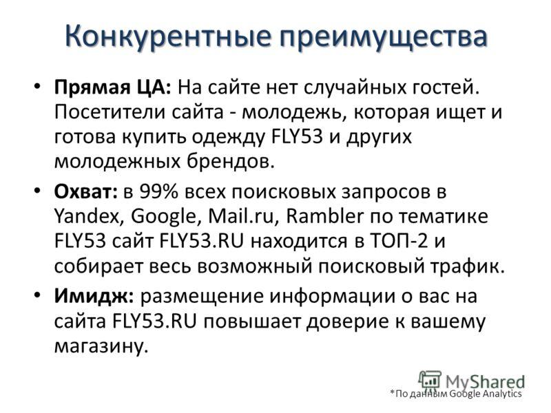 Конкурентные преимущества Прямая ЦА: На сайте нет случайных гостей. Посетители сайта - молодежь, которая ищет и готова купить одежду FLY53 и других молодежных брендов. Охват: в 99% всех поисковых запросов в Yandex, Google, Mail.ru, Rambler по тематик