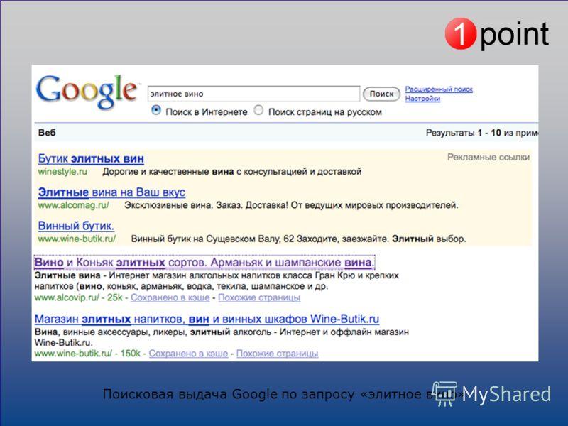 Поисковая выдача Google по запросу «элитное вино»