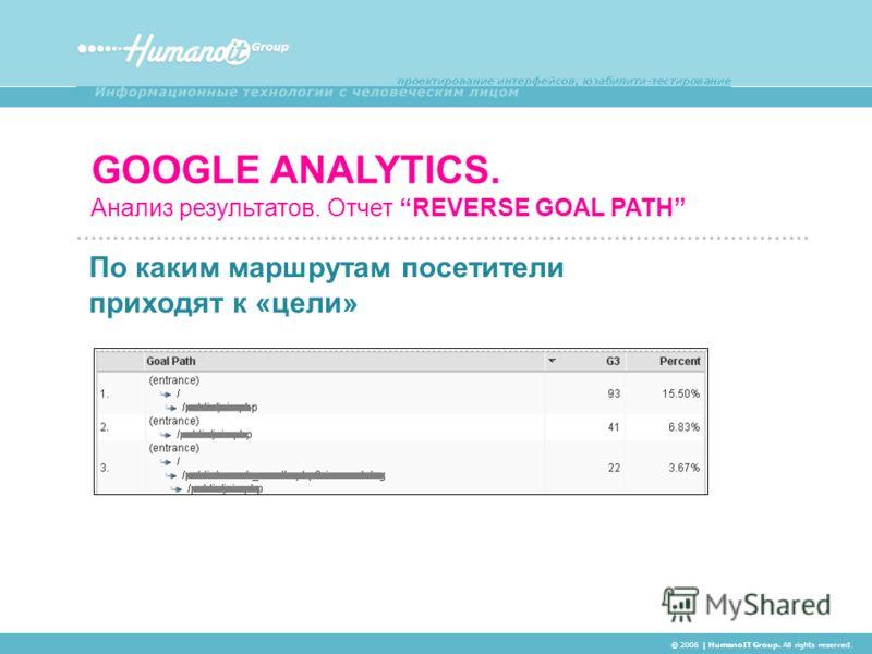 GOOGLE ANALYTICS. Анализ результатов. Отчет REVERSE GOAL PATH © 2006 | HumanoIT Group. All rights reserved. По каким маршрутам посетители приходят к «цели»