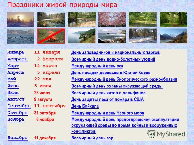 Январь11 января День заповедников и национальных парков Февраль 2 февраля Всемирный день водно-болотных угодий Март14 марта Международный день рек Апрель 5 апреля День посадки деревьев в Южной Корее Май22 мая Международный день биологического разнооб