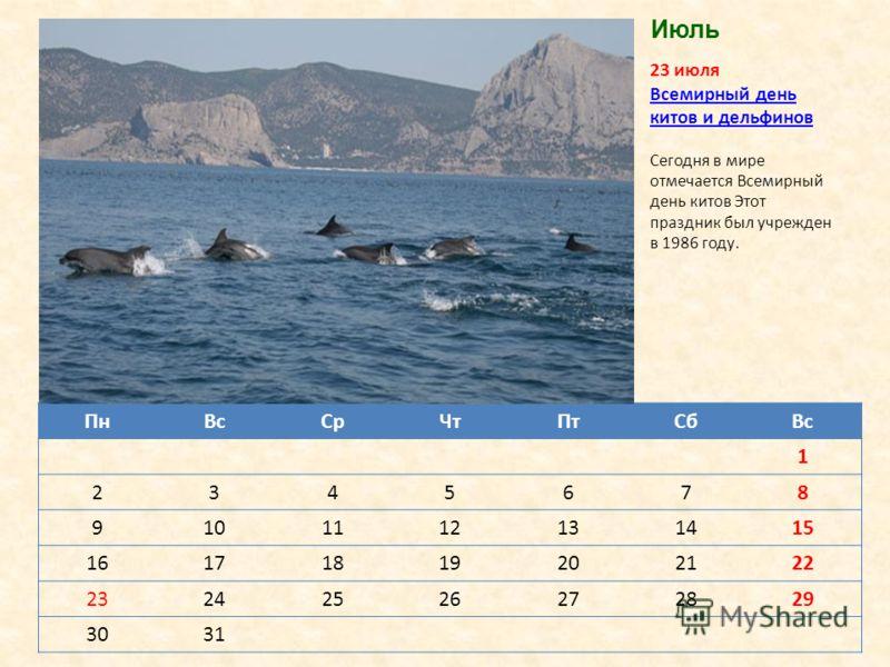 ПнВсСрЧтПтСбВс 1 2345678 9101112131415 16171819202122 23242526272829 3031 23 июля Всемирный день китов и дельфиновВсемирный день китов и дельфинов Сегодня в мире отмечается Всемирный день китов Этот праздник был учрежден в 1986 году. Июль