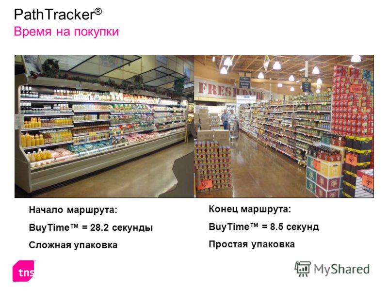 Начало маршрута: BuyTime = 28.2 секунды Сложная упаковка Конец маршрута: BuyTime = 8.5 секунд Простая упаковка PathTracker ® Время на покупки