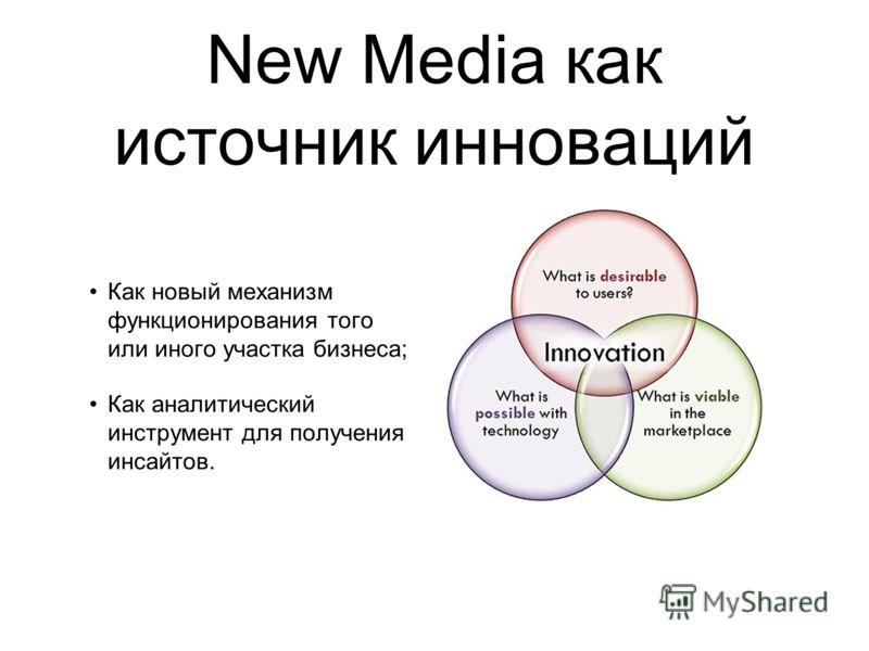 New Media как источник инноваций Как новый механизм функционирования того или иного участка бизнеса; Как аналитический инструмент для получения инсайтов.