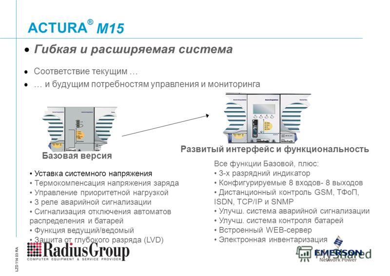 ® ACTURA LZD 114 03 RA M15 Базовая версия Развитый интерфейс и функциональность Все функции Базовой, плюс: 3-х разрядний индикатор Конфигурируемые 8 входов- 8 выходов Дистанционный контроль GSM, ТФоП, ISDN, TCP/IP и SNMP Улучш. система аварийной сигн