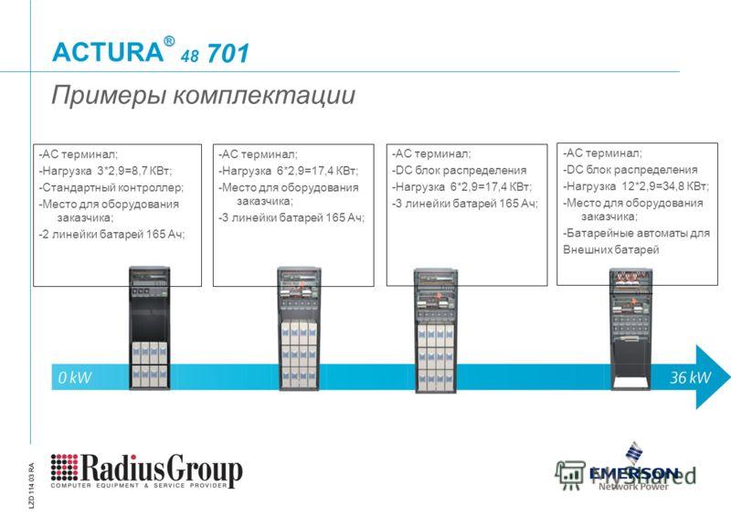 ® ACTURA LZD 114 03 RA 48 701 Примеры комплектации -AC терминал; -Нагрузка 3*2,9=8,7 КВт; -Стандартный контроллер; -Место для оборудования заказчика; -2 линейки батарей 165 Ач; -АС терминал; -Нагрузка 6*2,9=17,4 КВт; -Место для оборудования заказчика
