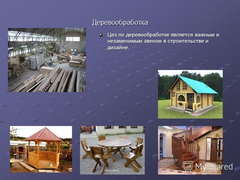 Деревообработка Цех по деревообработке является важным и незаменимым звеном в строительстве и дизайне.