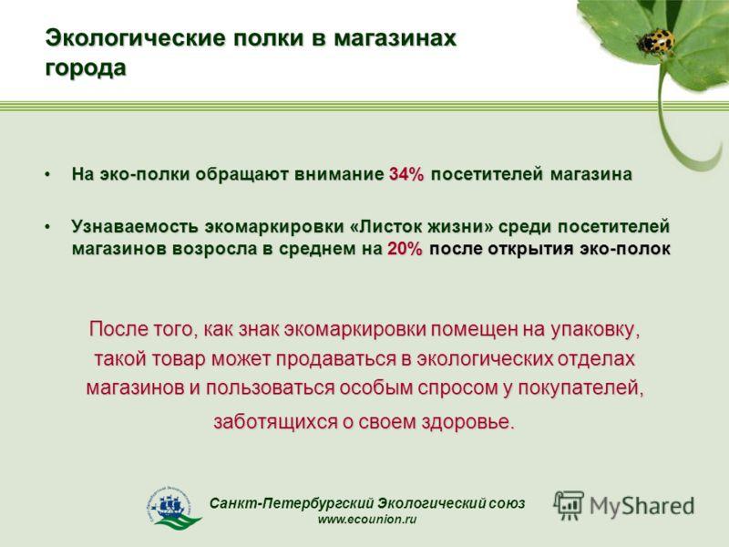 Санкт-Петербургский Экологический союз www.ecounion.ru Экологические полки в магазинах города На эко-полки обращают внимание 34% посетителей магазинаНа эко-полки обращают внимание 34% посетителей магазина Узнаваемость экомаркировки «Листок жизни» сре