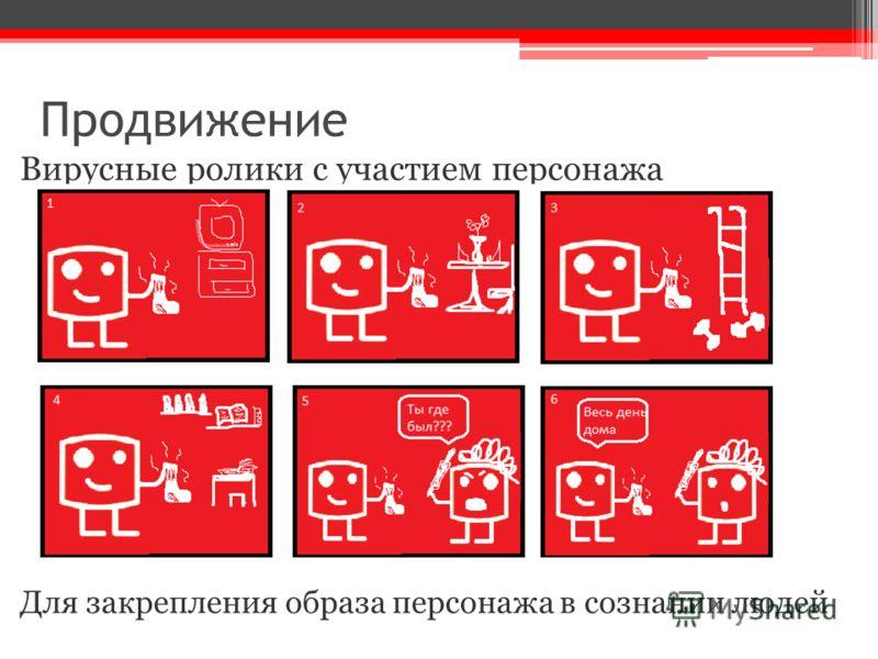 Продвижение Вирусные ролики с участием персонажа Для закрепления образа персонажа в сознании людей