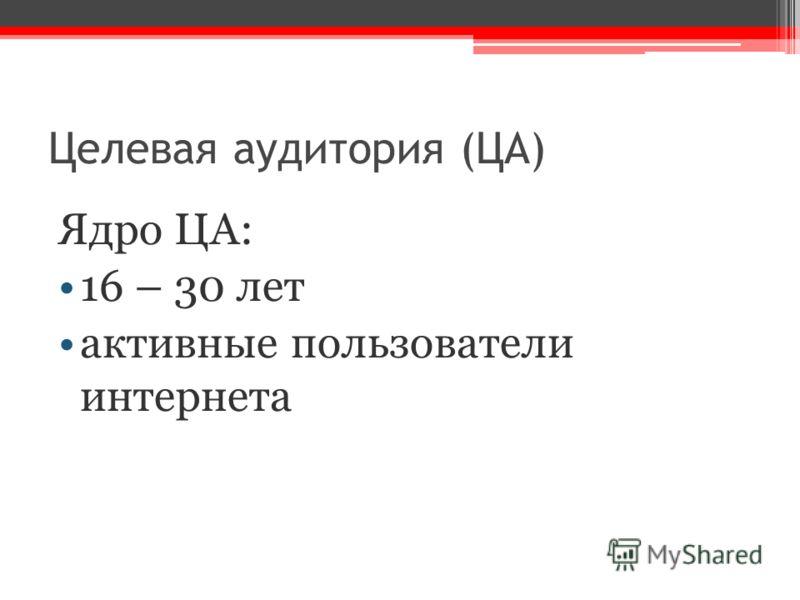 Целевая аудитория (ЦА) Ядро ЦА: 16 – 30 лет активные пользователи интернета