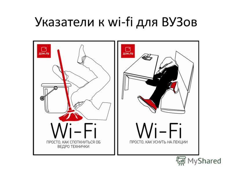 Указатели к wi-fi для ВУЗов