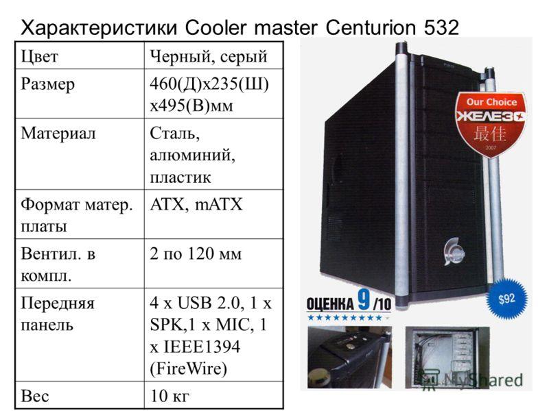 Характеристики Cooler master Centurion 532 ЦветЧерный, серый Размер460(Д)х235(Ш) х495(В)мм МатериалСталь, алюминий, пластик Формат матер. платы АТХ, mАТХ Вентил. в компл. 2 по 120 мм Передняя панель 4 x USB 2.0, 1 x SPK,1 x MIC, 1 x IEEE1394 (FireWir