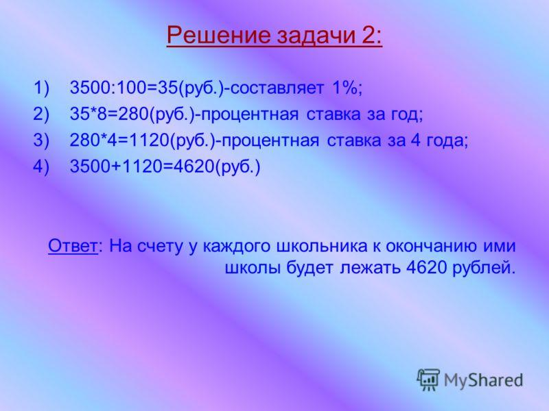 Решение задачи 2: 1)3500:100=35(руб.)-составляет 1%; 2)35*8=280(руб.)-процентная ставка за год; 3)280*4=1120(руб.)-процентная ставка за 4 года; 4)3500+1120=4620(руб.) Ответ: На счету у каждого школьника к окончанию ими школы будет лежать 4620 рублей.