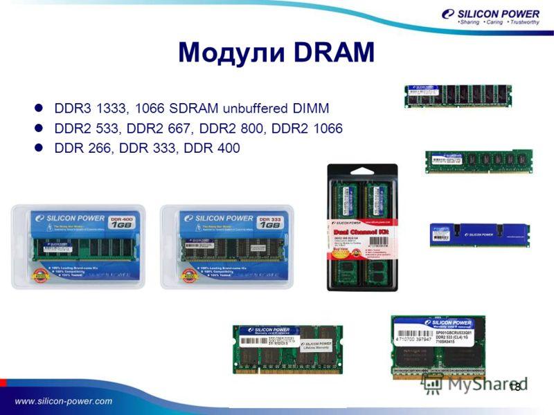 18 Модули DRAM DDR3 1333, 1066 SDRAM unbuffered DIMM DDR2 533, DDR2 667, DDR2 800, DDR2 1066 DDR 266, DDR 333, DDR 400