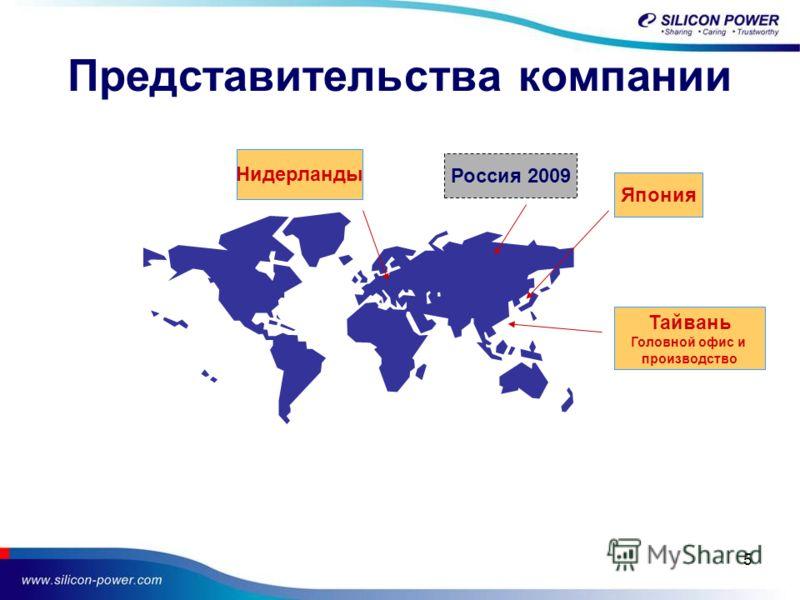 5 Представительства компании Япония Тайвань Головной офис и производство Нидерланды Россия 2009