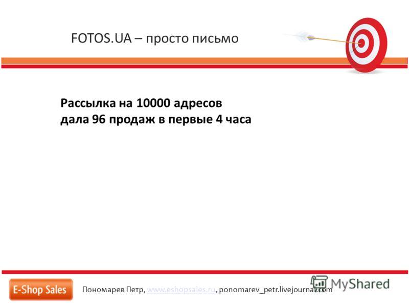 FOTOS.UA – просто письмо Пономарев Петр, www.eshopsales.ru, ponomarev_petr.livejournal.comwww.eshopsales.ru Рассылка на 10000 адресов дала 96 продаж в первые 4 часа
