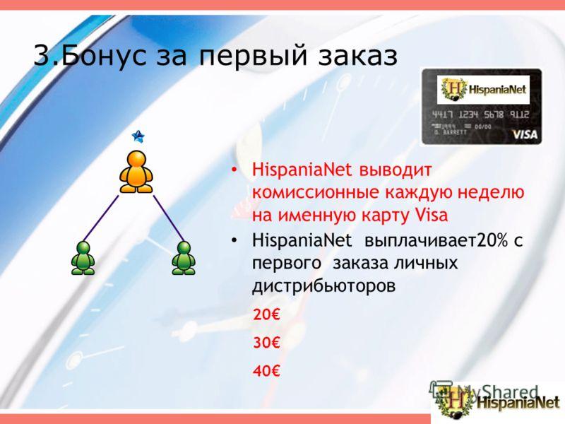 HispaniaNet выводит комиссионные каждую неделю на именную карту Visa 20 30 40 HispaniaNet выплачивает20% с первого заказа личных дистрибьюторов 3.Бонус за первый заказ