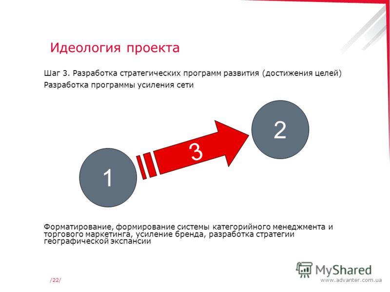 www.advanter.com.ua/22/ Идеология проекта Шаг 3. Разработка стратегических программ развития (достижения целей) Разработка программы усиления сети Форматирование, формирование системы категорийного менеджмента и торгового маркетинга, усиление бренда,