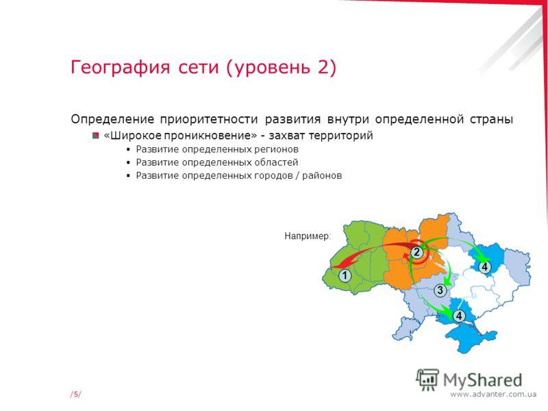 www.advanter.com.ua/5//5/ География сети (уровень 2) Определение приоритетности развития внутри определенной страны «Широкое проникновение» - захват территорий Развитие определенных регионов Развитие определенных областей Развитие определенных городо