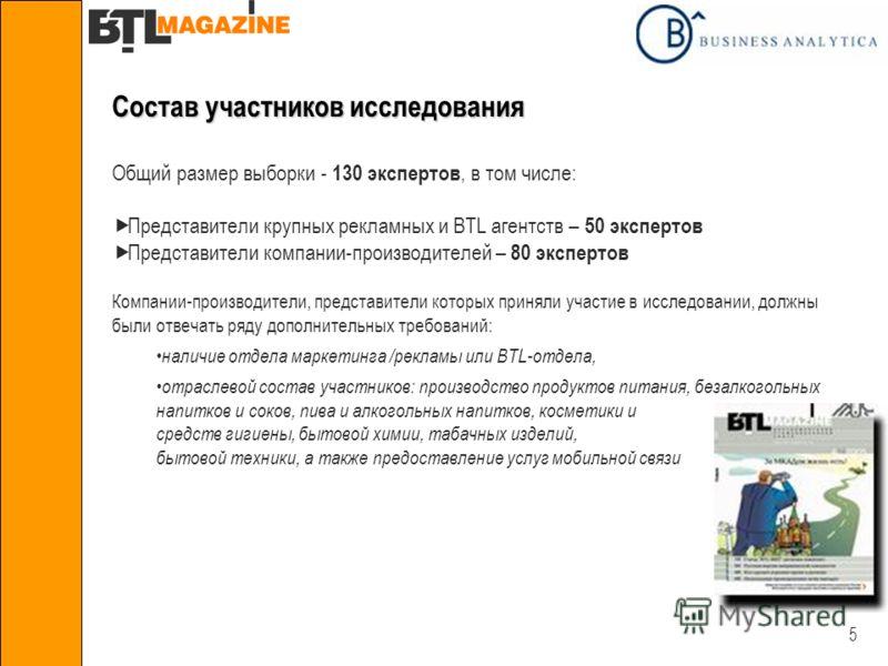 5 Состав участников исследования Общий размер выборки - 130 экспертов, в том числе: Представители крупных рекламных и BTL агентств – 50 экспертов Представители компании-производителей – 80 экспертов Компании-производители, представители которых приня