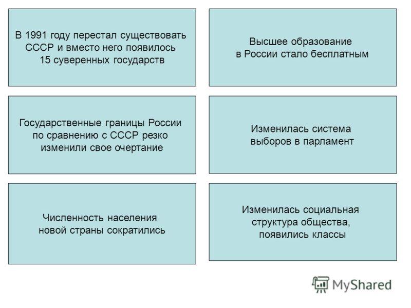 В 1991 году перестал существовать СССР и вместо него появилось 15 суверенных государств Государственные границы России по сравнению с СССР резко изменили свое очертание Численность населения новой страны сократились Высшее образование в России стало