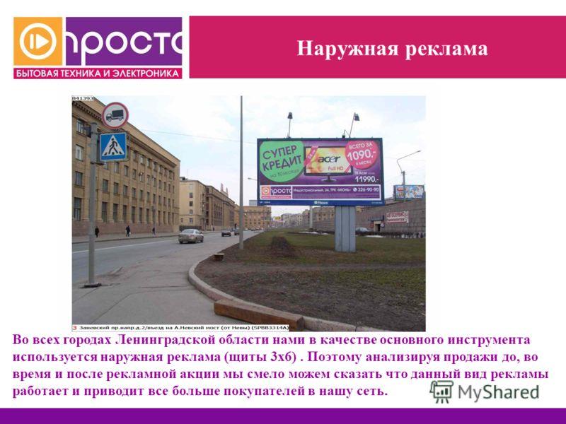 Наружная реклама Во всех городах Ленинградской области нами в качестве основного инструмента используется наружная реклама (щиты 3х6). Поэтому анализируя продажи до, во время и после рекламной акции мы смело можем сказать что данный вид рекламы работ
