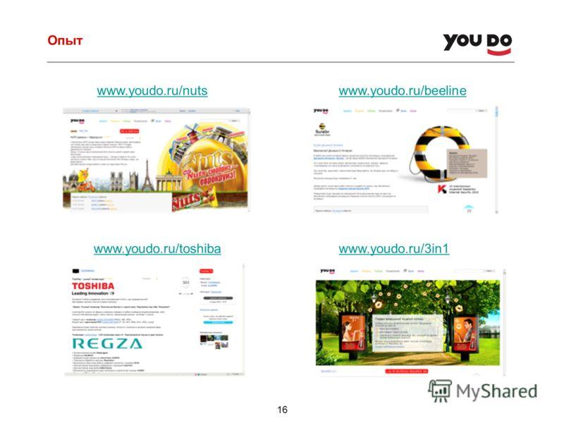 Опыт 16 www.youdo.ru/nutswww.youdo.ru/beeline www.youdo.ru/toshibawww.youdo.ru/3in1